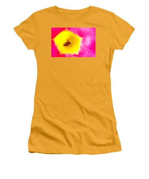 Women's T-Shirt (Junior Cut) featuring the photograph Bug In Pink And Yellow Flower  by Ben and Raisa Gertsberg