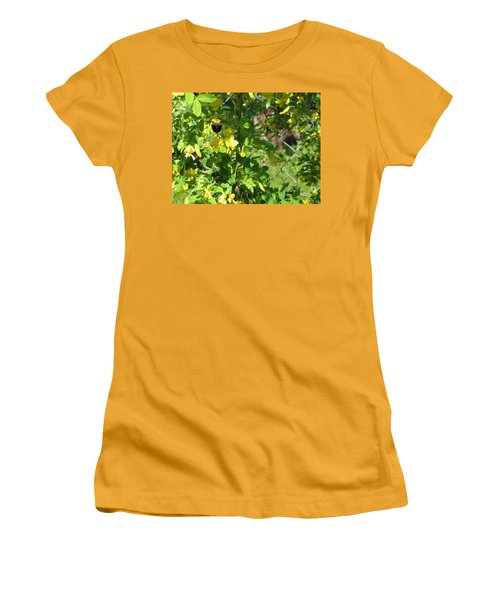 Bumblebee In Flight In Yellow Flowers Women's T-Shirt (Junior Cut) by Barbara Yearty