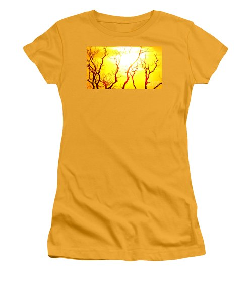 Women's T-Shirt (Junior Cut) featuring the photograph Burning Sunset by Justin Moore