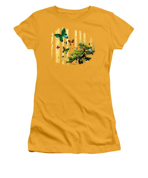Butterfly Garden Women's T-Shirt (Junior Cut) by Jennifer Muller