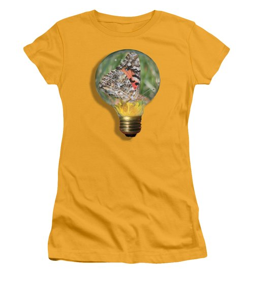 Butterfly In A Bulb II Women's T-Shirt (Junior Cut) by Shane Bechler