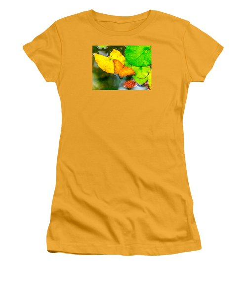Women's T-Shirt (Junior Cut) featuring the photograph Butterfly On Lilies by Jerry Cahill