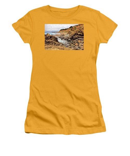 California Coast Rocks Cliffs And Beach Women's T-Shirt (Junior Cut) by Dan Carmichael