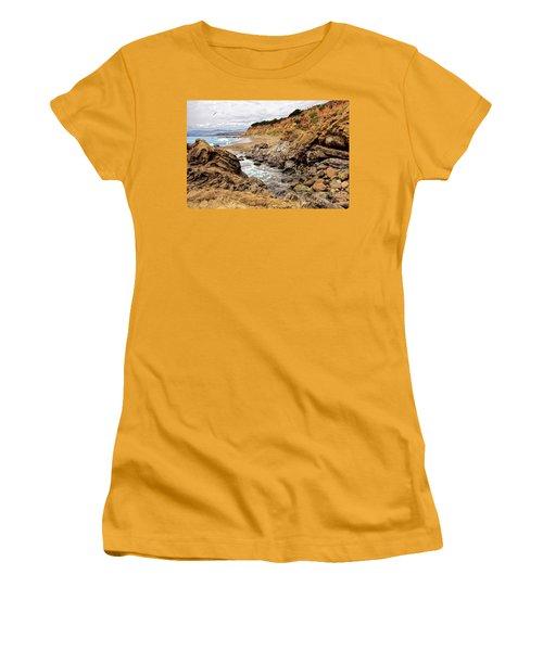 California Coast Rocks Cliffs And Beach Women's T-Shirt (Junior Cut)