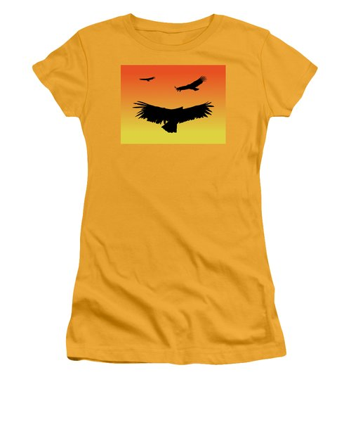 California Condors In Flight Silhouette At Sunset Women's T-Shirt (Athletic Fit)