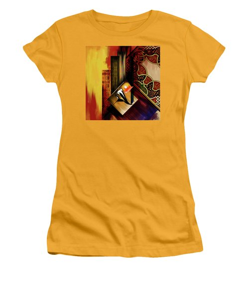 Women's T-Shirt (Junior Cut) featuring the painting Calligraphy 102  2 1 by Mawra Tahreem