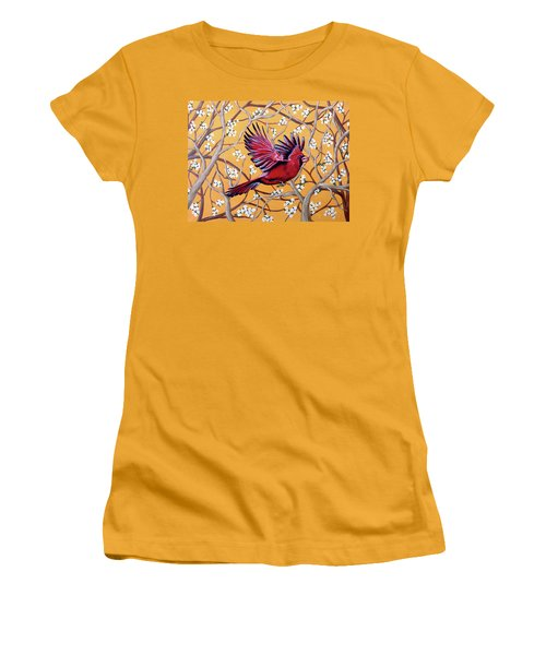 Women's T-Shirt (Junior Cut) featuring the painting Cardinal In Flight by Teresa Wing