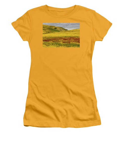 Women's T-Shirt (Junior Cut) featuring the photograph Carrizo  Plain Super Bloom 2017 by Peter Tellone