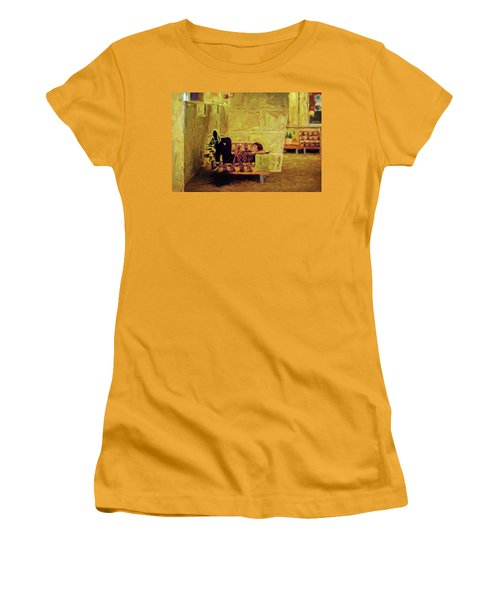 Women's T-Shirt (Athletic Fit) featuring the photograph Casual Student by Lewis Mann