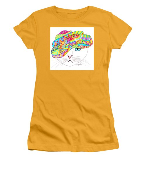 Women's T-Shirt (Junior Cut) featuring the drawing Cat With A Fancy Turban by Terry Taylor