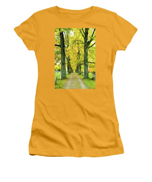 Women's T-Shirt (Junior Cut) featuring the photograph Cemetery Lane by Greg Fortier