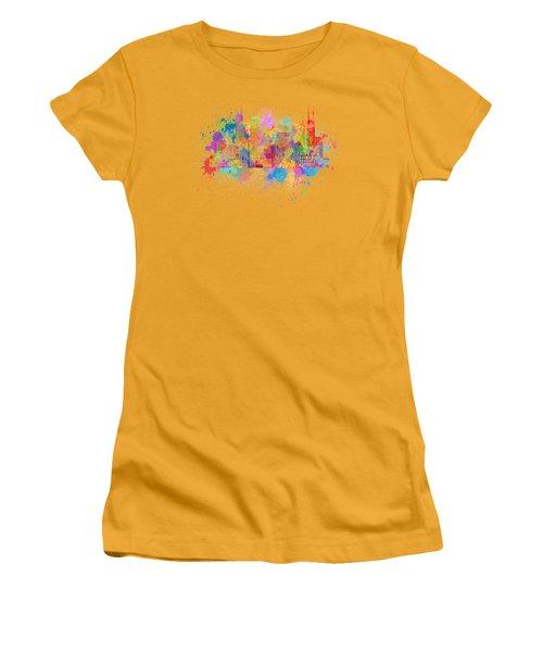 Chicago Skyline Paint Splatter Illustration Women's T-Shirt (Junior Cut) by Jit Lim