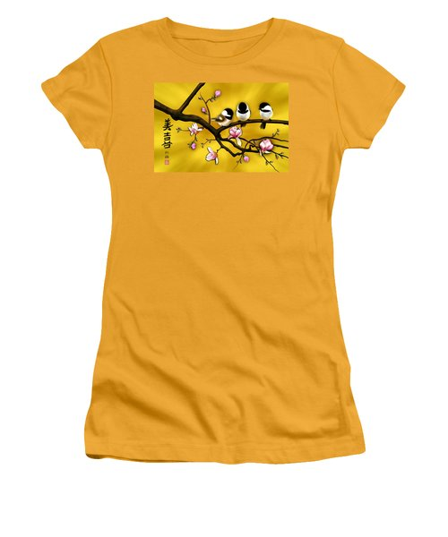 Chickadee On Blooming Magnolia Branch Women's T-Shirt (Athletic Fit)