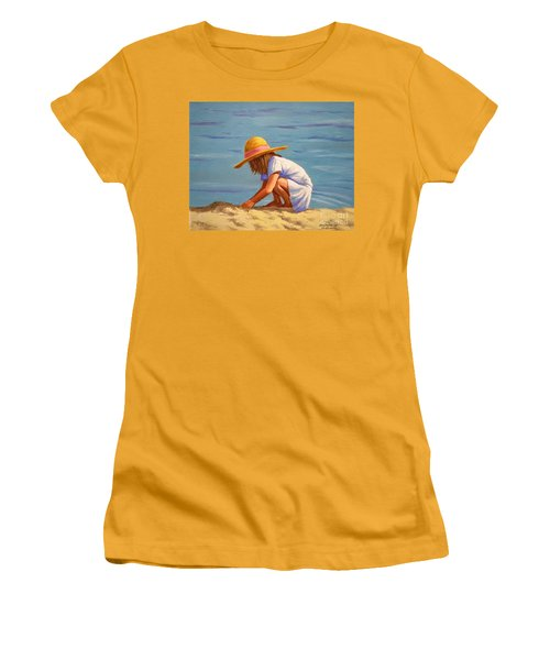 Child Playing In The Sand Women's T-Shirt (Athletic Fit)