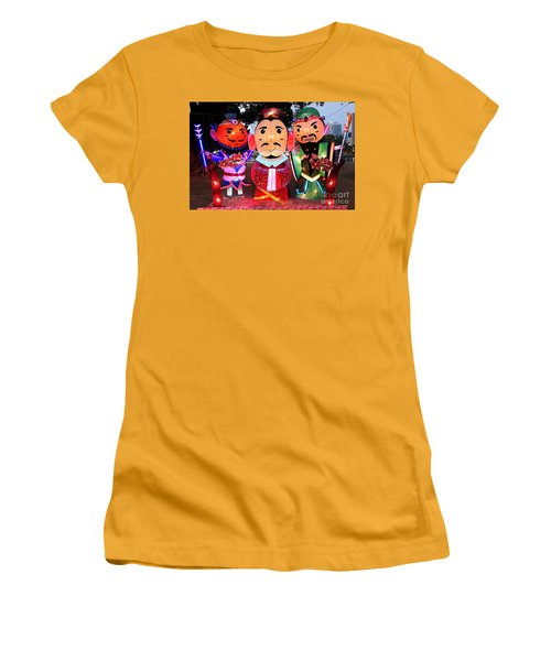 Women's T-Shirt (Junior Cut) featuring the photograph Chinese Lanterns In The Shape Of Three Wise Men by Yali Shi