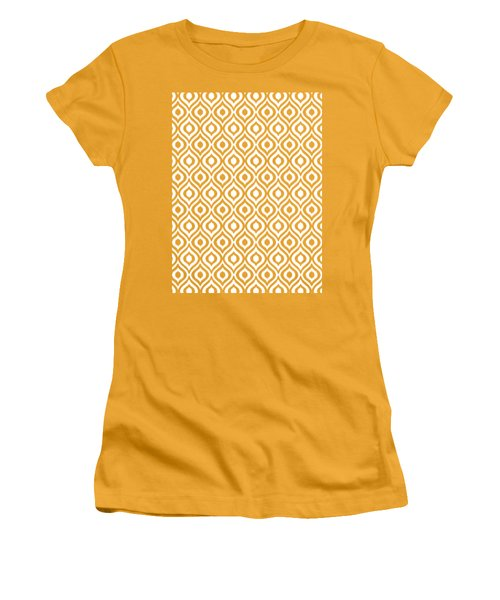 Circle And Oval Ikat In White T09-p0100 Women's T-Shirt (Athletic Fit)