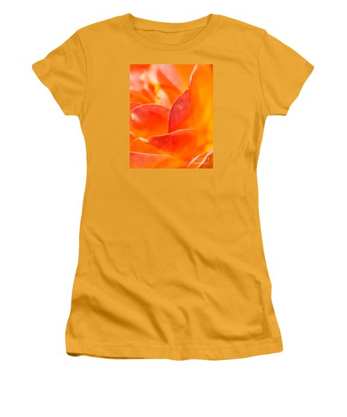 Women's T-Shirt (Athletic Fit) featuring the photograph Close-up Of An Orange Rose Flower by David Perry Lawrence