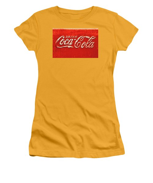 Coca Cola Rustic Women's T-Shirt (Junior Cut) by Stephen Anderson