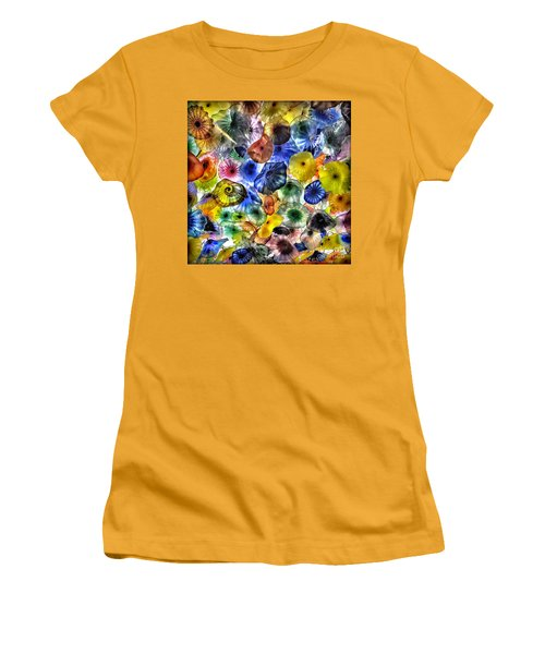 Colorful Glass Ceiling In Bellagio Lobby Women's T-Shirt (Junior Cut) by Walt Foegelle