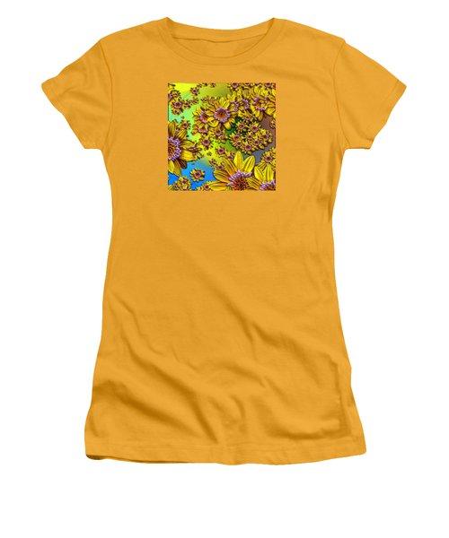 Crazy Daisies Women's T-Shirt (Junior Cut) by Nick Kloepping