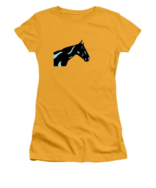 Crimson - Pop Art Horse - Black, Island Paradise Blue, Primrose Yellow Women's T-Shirt (Athletic Fit)
