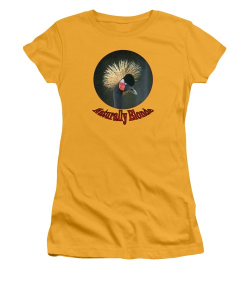 Women's T-Shirt (Junior Cut) featuring the photograph Crowned Crane - Naturally Blonde - Transparent by Nikolyn McDonald