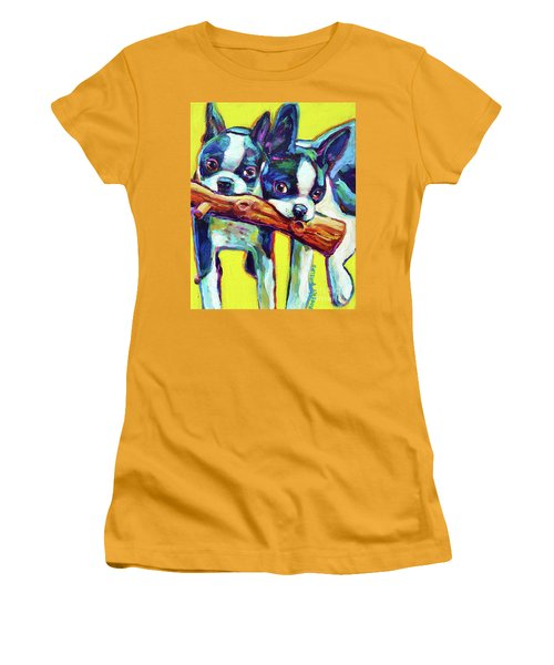 Women's T-Shirt (Junior Cut) featuring the painting Cute Boston Terriers by Robert Phelps