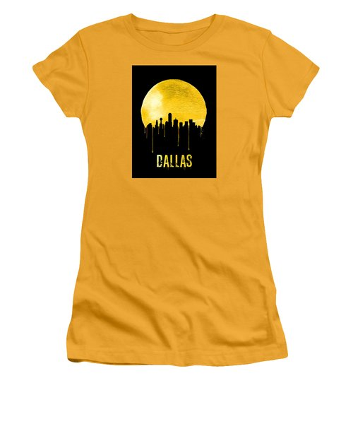 Dallas Skyline Yellow Women's T-Shirt (Junior Cut) by Naxart Studio