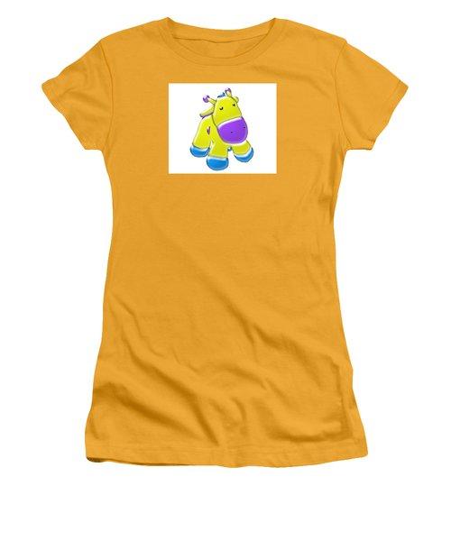 Women's T-Shirt (Junior Cut) featuring the digital art Darling Calf Cartoon by Karen Nicholson