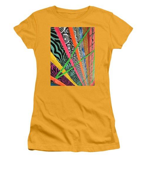 Dazzling Delirious Duct Tape Diagonals Women's T-Shirt (Athletic Fit)