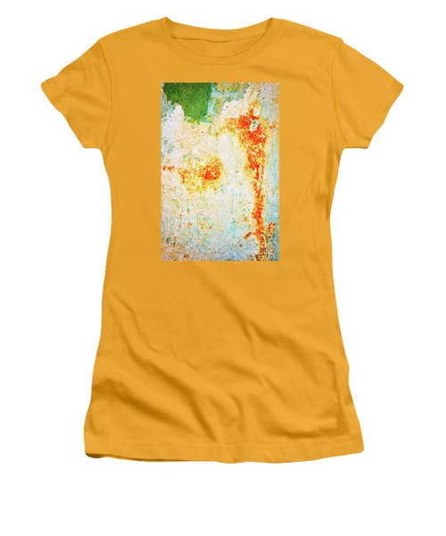 Women's T-Shirt (Athletic Fit) featuring the photograph Decayed Wall With Orange Paint by Silvia Ganora