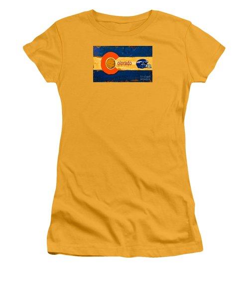 Denver Colorado Broncos 1 Women's T-Shirt (Junior Cut) by Steven Parker