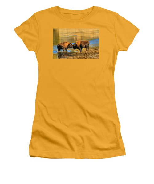 Women's T-Shirt (Junior Cut) featuring the photograph Discussing The Crossing by Adam Jewell