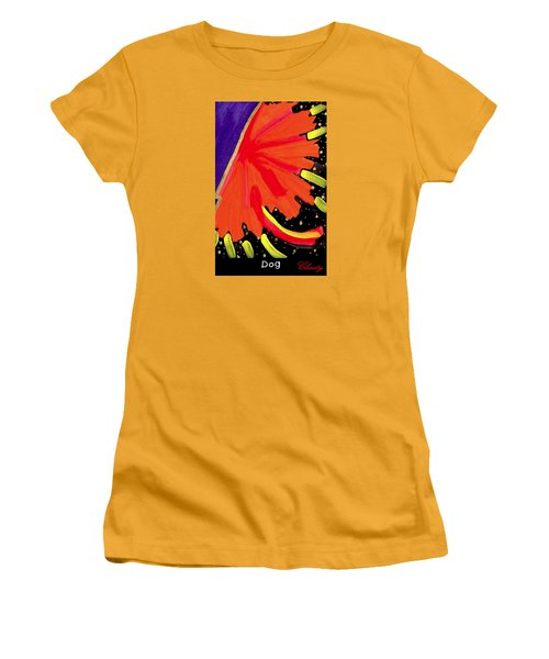 Women's T-Shirt (Junior Cut) featuring the painting Dog by Clarity Artists