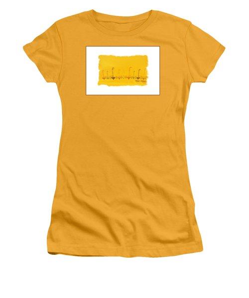 Women's T-Shirt (Junior Cut) featuring the mixed media Door County Sail Boats by Marsha Heiken