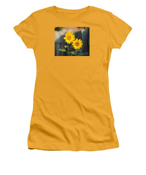 Double Sunflowers 2  Women's T-Shirt (Athletic Fit)