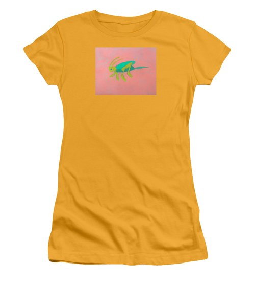 Women's T-Shirt (Junior Cut) featuring the pastel Eager Grasshopper by Artists With Autism Inc