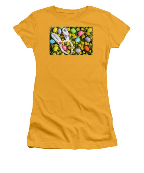 Women's T-Shirt (Junior Cut) featuring the photograph Easter Eggs And Bunny Ears by Teri Virbickis