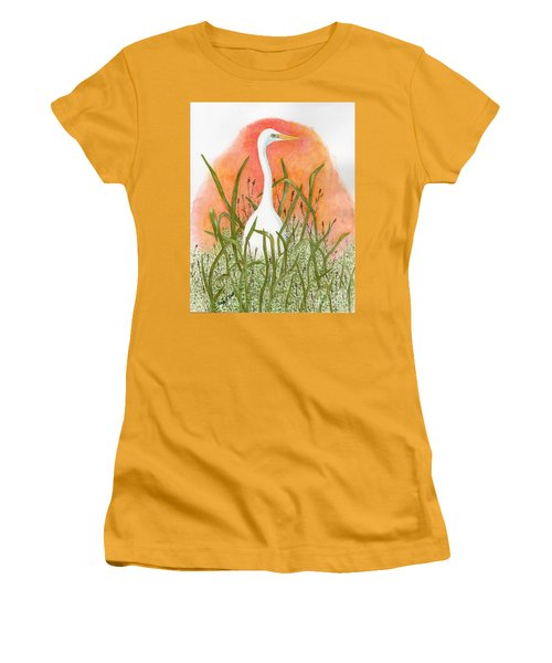 Women's T-Shirt (Junior Cut) featuring the painting Egret Color In Sunset by Peggy A Borel
