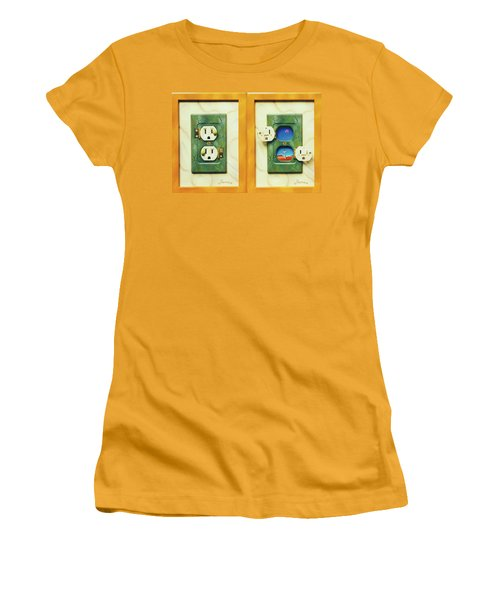 Electric View Miniature Shown Closed And Open Women's T-Shirt (Junior Cut)