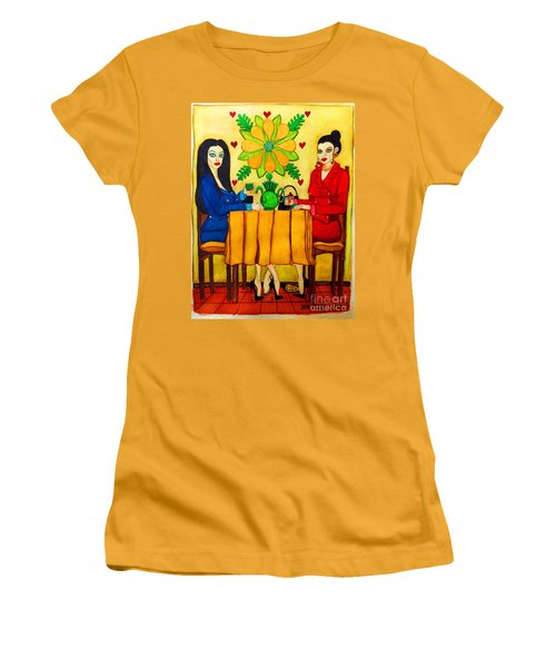 Women's T-Shirt (Junior Cut) featuring the painting Elegant Ladies In A Coffee-shop by Don Pedro De Gracia