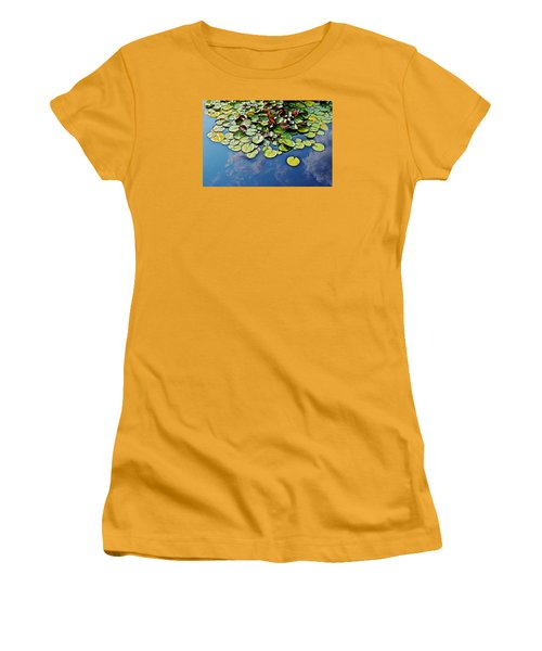End Of July Water Lilies In The Clouds Women's T-Shirt (Junior Cut) by Janis Nussbaum Senungetuk