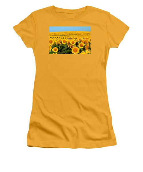 Endless Sunflowers Women's T-Shirt (Junior Cut) by Catherine Sherman