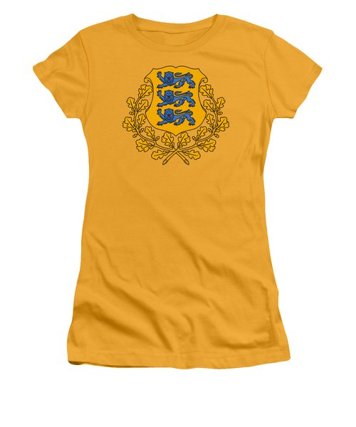 Estonia Coat Of Arms Women's T-Shirt (Junior Cut) by Movie Poster Prints