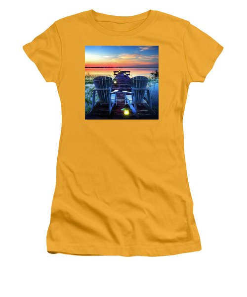 Women's T-Shirt (Junior Cut) featuring the photograph Evening Romance by Debra and Dave Vanderlaan