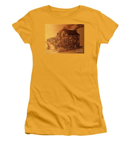 Women's T-Shirt (Athletic Fit) featuring the pyrography Farmhouse by Denise Tomasura