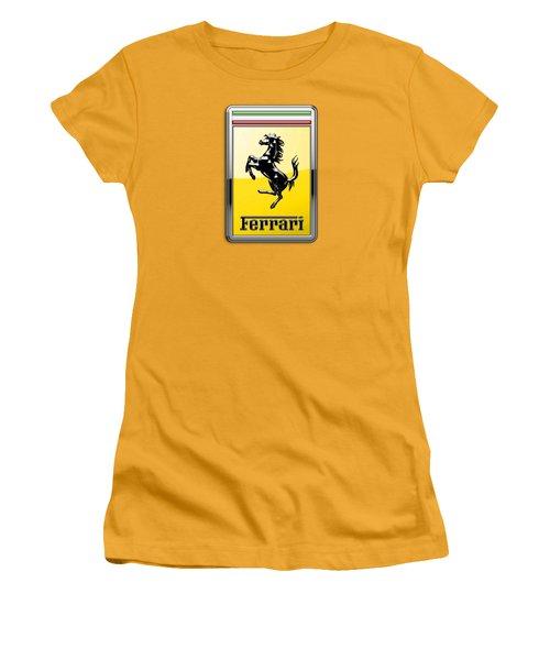 Ferrari 3d Badge- Hood Ornament On Yellow Women's T-Shirt (Junior Cut) by Serge Averbukh