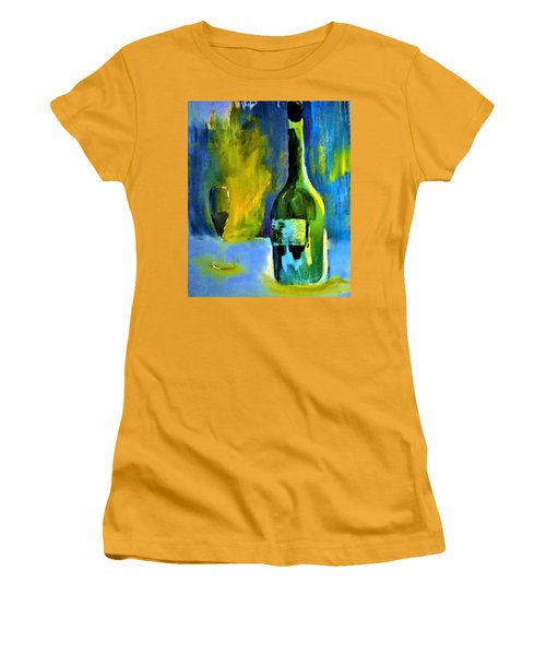 Women's T-Shirt (Junior Cut) featuring the painting Fine Wine Glow by Lisa Kaiser