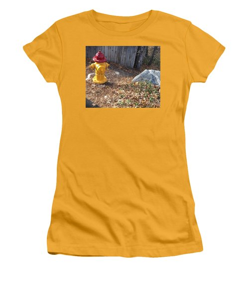 Fire Hydrant Checking Its Facerock Women's T-Shirt (Junior Cut) by Richard W Linford