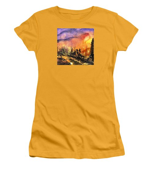 Fires In Our Mountains Tonight Women's T-Shirt (Junior Cut) by Randy Sprout